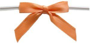 "Small Peach Twist Tie Bows- 250pc. Peach Pre-tied bow with 4"" Clear Twist Tie. 3/8"" Satin Ribbon/ Bow head= 1 3/4"", Tails= 1 3/8"". Neatly packed 250 per bag. used for packaging, weddings, products, and gifts. Available in 3 sizes and 19 colors. Please check our Amazon Store."