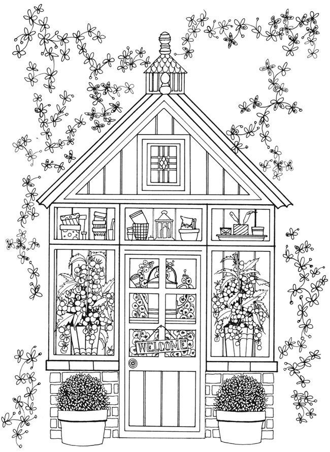 Fairy House Coloring Pages For Adults In 2020 Garden Coloring Pages House Colouring Pages Dover Coloring Pages