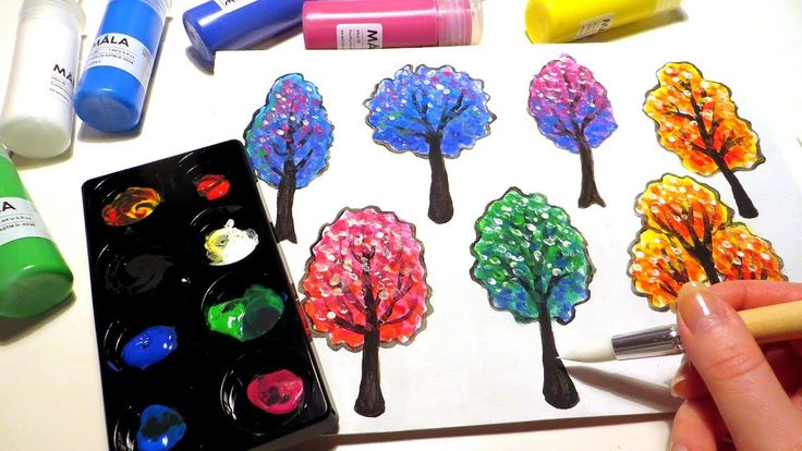 How to paint colorful trees with acrylics using art supplies (Mala or Måla paint brushes and paints) from Ikea. I'm painting children's book illustration style trees on primed cardboard, scanning the painting, editing in GIMP and arranging the trees into a seamlessly repeating pattern.