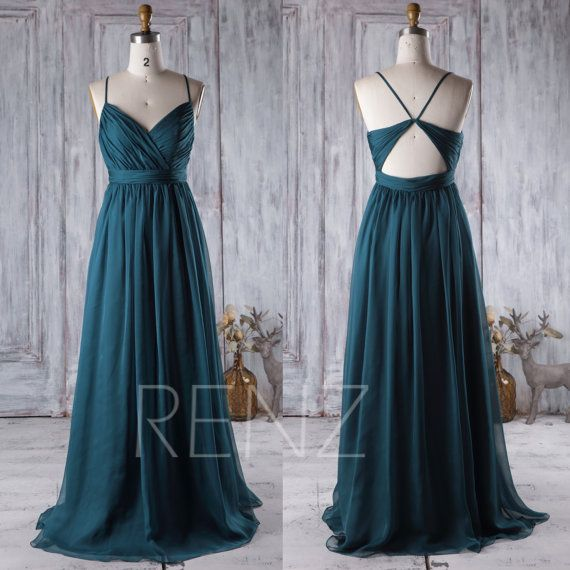 Bridesmaid Dress Vintage Blue Chiffon Dress Wedding Dress Spaghetti Strap Prom Dress V Neck Open Back Maxi Dress A-line Party Dress(J026)