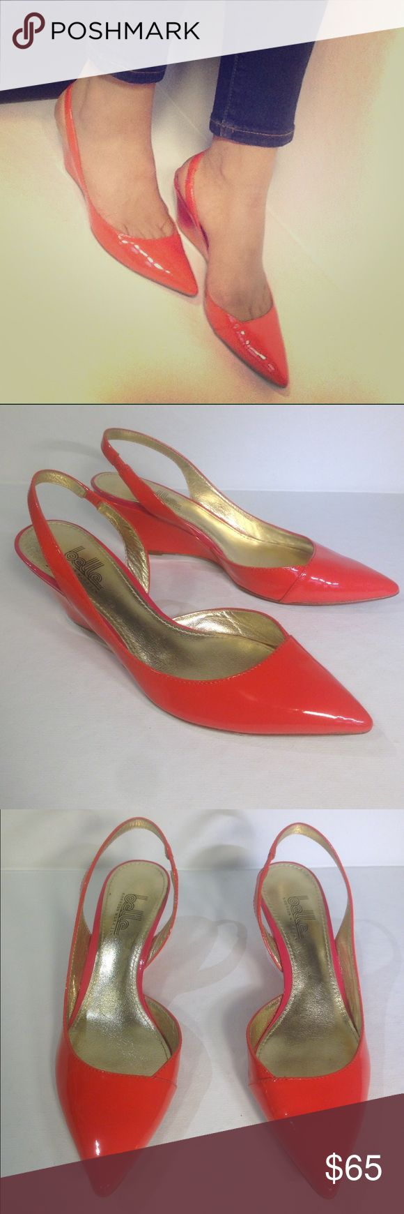 BELLE SIGERSON MORRISON CORAL POINTED WEDGES In very good condition. Worn twice. Size 6.5 but run small. Tiny dirt marks on heel, some scuffing on upper. No other significant flaws. Pointed toe, sling back. Leather upper and sole. Belle by Sigerson Morrison Shoes Wedges