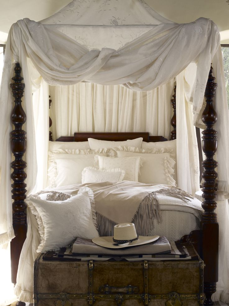 Romantic, four-post canopy bed from Ralph Lauren Home