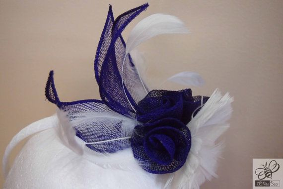 White fascinator with white feather flower and purple by WhiteBea