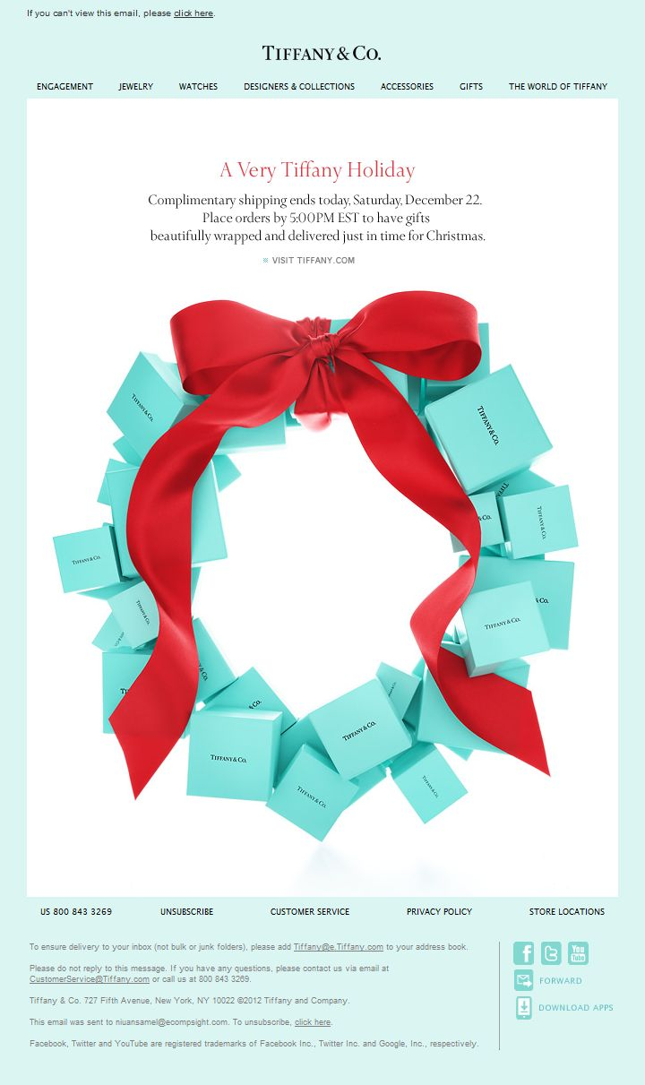 tiffany.  final days for the holiday. holiday email. simple clean email campaign design.