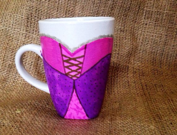 Adorable 12 oz ceramic coffee mug with hand painted Rapunzel Character Costume on the front    Add a name or customization for an additional $2