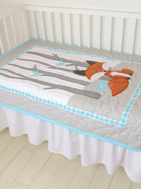 Fox Blanket Fox Nursery Quilt Baby Boy Quilt by Customquiltsbyeva