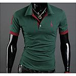 Hombre Simple Activo Casual/Diario Deportes Para Todas las Temporadas Camiseta,Escote Redondo A Rayas Manga Corta Algodón Licra Medio 2017 - $10.79