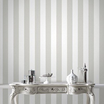 Gray Ticking Stripe Wallpaper - Gray Stripes Wall Coverings by Graham & Brown