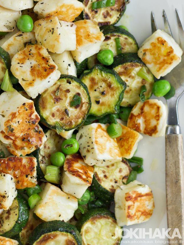 Jokihaka Kokkaa: Halloumi - kesäkurpitsapaistos. This blog has so beautiful pictures of food that I start to drool. This in a recipe for cheese-zucchini wok.