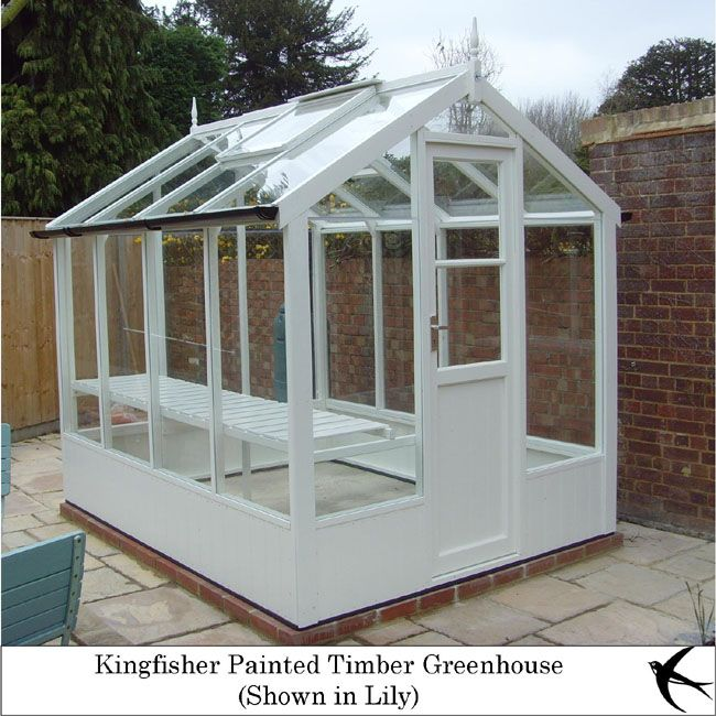 """Swallow Painted Timber Greenhouses - Kingfisher 6' 8"""" Wide 