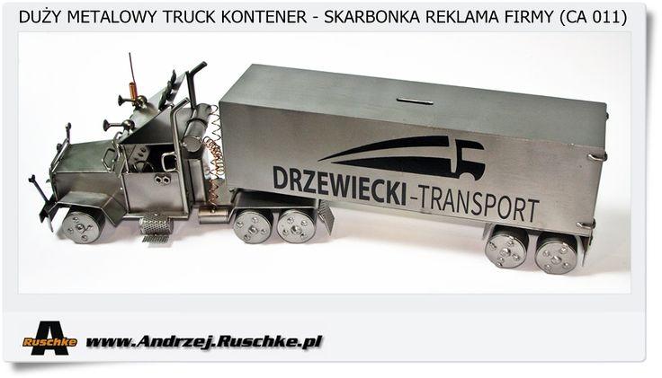 Reklama firmy transportowej Duża ciężarówka Metalowa skarbonka Hand made Poland