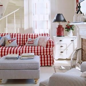 beautiful red gingham couch and blue stripe chair and ottoman: Cottages Style, Living Rooms, Decor Ideas, Red, Livingroom, Decorating Ideas, House, Cottage Style, Sofas