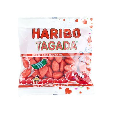 French Tagada Strawberry Haribo candy, a favorite French treat, is available in the U.S. from Le Panier Francais.