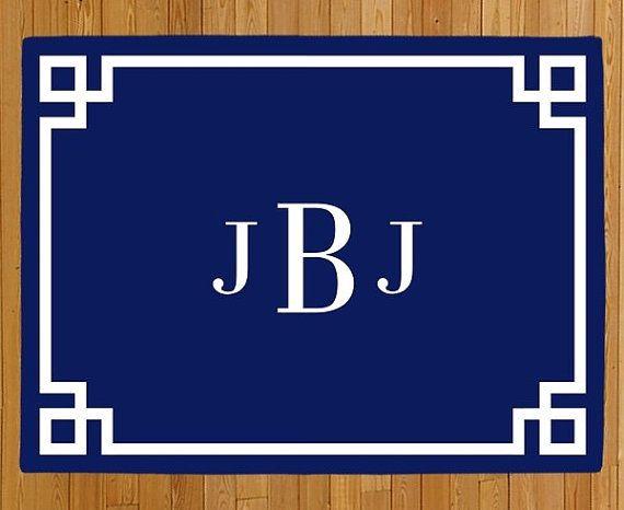 Personalized Door Mat, Monogram Doormat, Greek Key Doormat, Welcome Mat, Navy Blue Rug, Modern Doormat, Wedding Gift, Housewarming