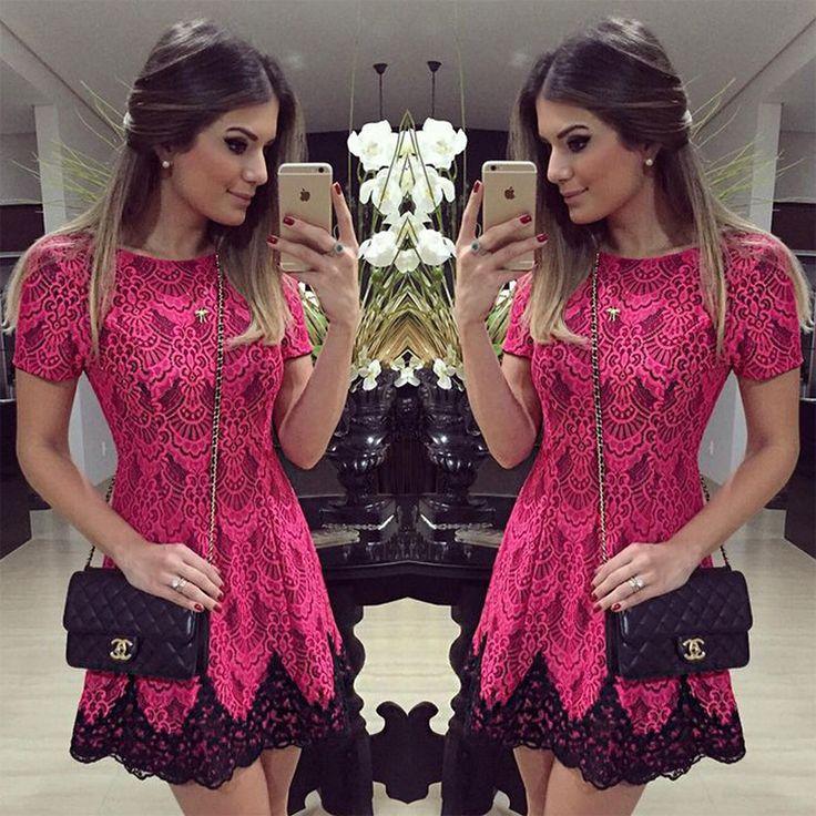 Vestido de festa bordado 2016 verão senhoras elegantes preto Lace Crochet Vestido curto vermelho de cintura alta mulheres vestidos de ...