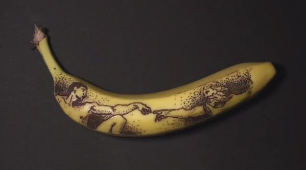The Creation of Adam, a portion of Michelangelo's work on the Sistene Chapel, rendered on a banana.