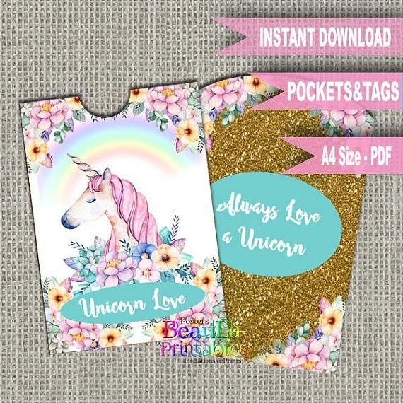 Unicorn Tag and Pocket Tag Pocket Template Unicorn Printable