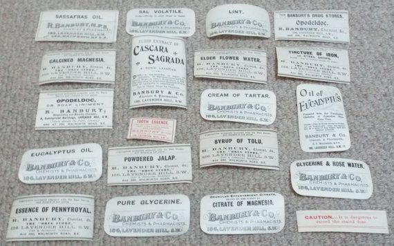 20 x Antique Chemist Pharmacy Labels c1900  by HarrysCollectables