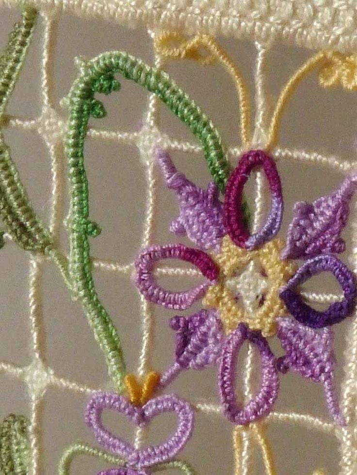 Detail of the second of my 4 reticello flower ensembles I embroidered for Giuliana Buonpadre's new book Herbarium.