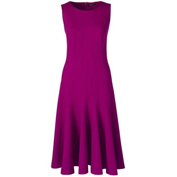 Lands' End Women's Petite Sleeveless Godet Dress (€91) ❤ liked on Polyvore featuring dresses, red, petite red dress, purple sleeveless dress, slim fit dress, sleeveless dress and petite dresses