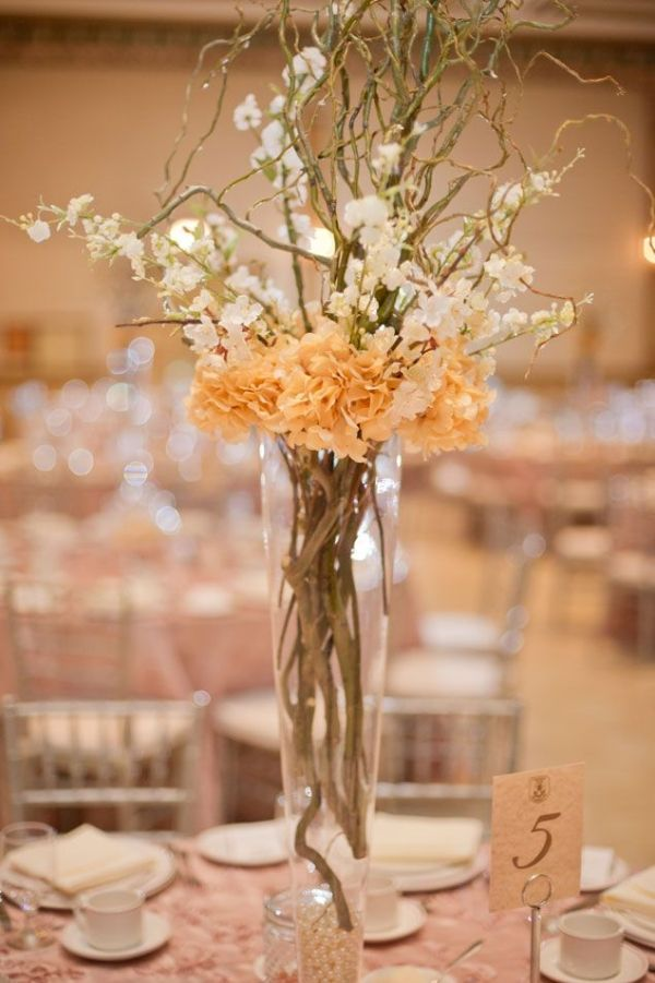 Wedding Centerpieces with different color flowers by stefanie