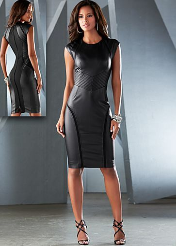 Faux leather sheath dress / Beautifully edgy!