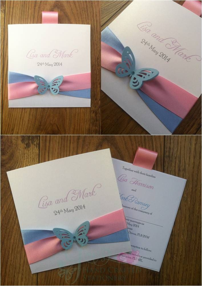 Pale Pink and Blue Wallet Wedding Invitation with butterfly  www.jenshandcraftedstationery.co.uk www.facebook.com/jenshandcraftedstationery