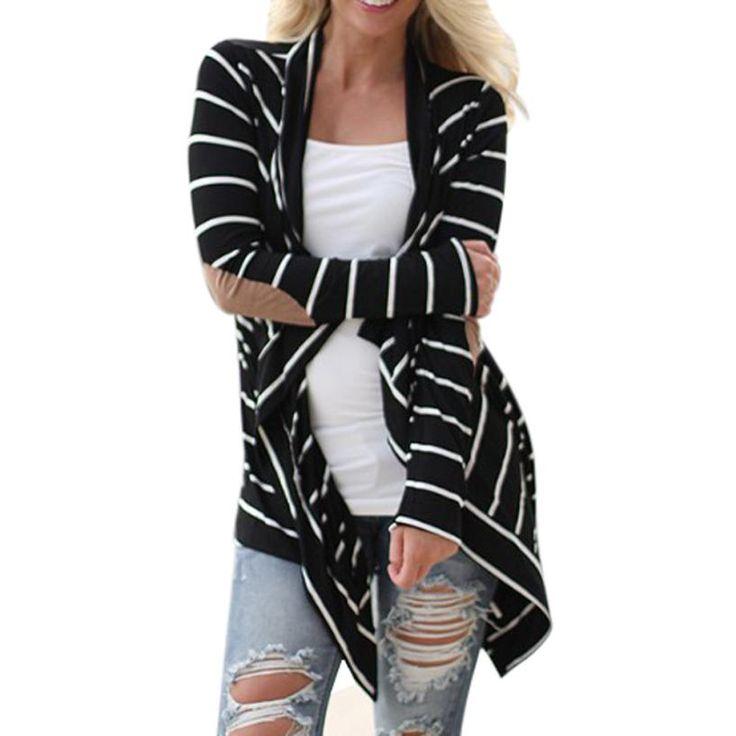 Jecksion女性ジャケット2016ファッションブラックホワイトカジュアルストライプカーディガンロングスリーブパッチワーク生き抜く# LN1