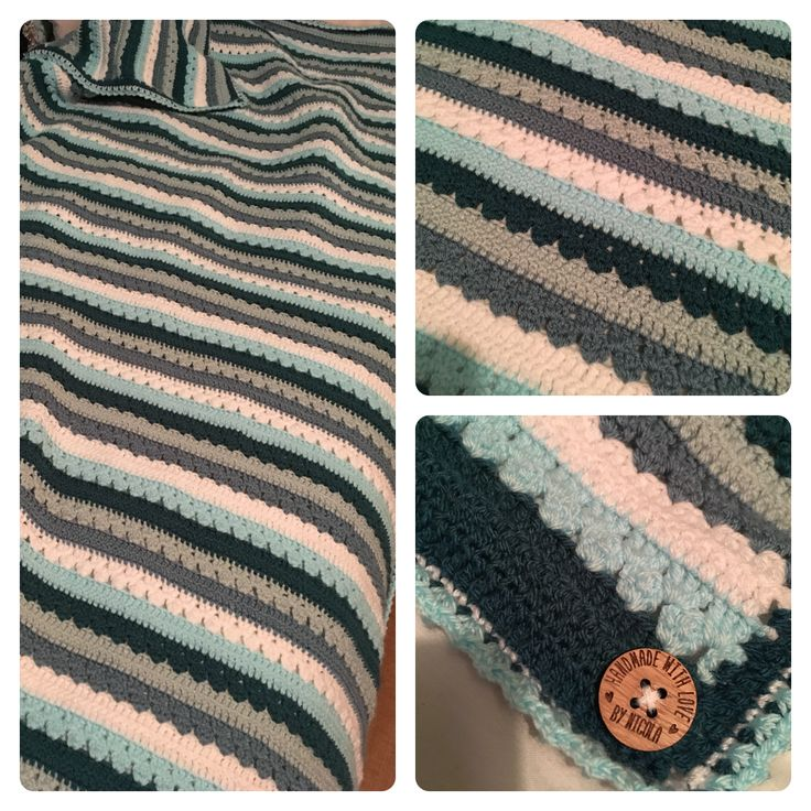 Attic 24 cosy stripe in stylecraft dk teal, sherbet, white, storm blue and duck egg. Button bought on Etsy.