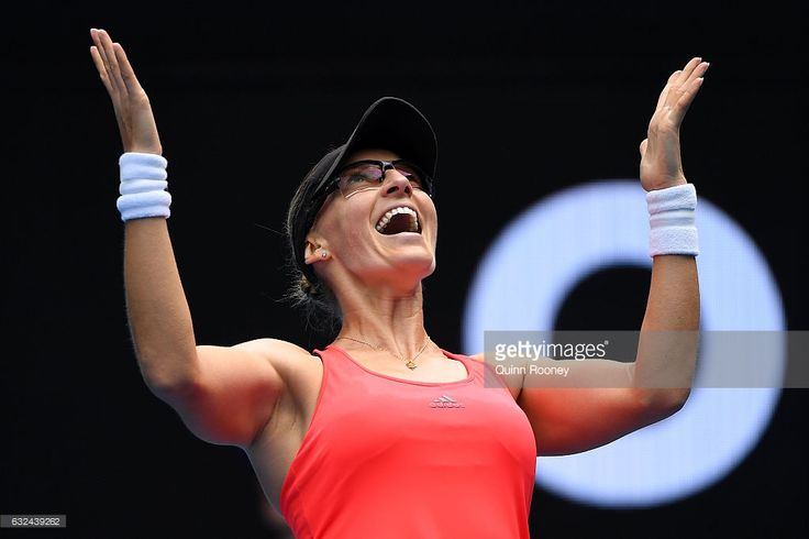Mirjana Lucic-Baroni of Croatia celebrates winning her fourth round match against Jennifer Brady of the United States on day eight of the 2017 Australian Open at Melbourne Park on January 23, 2017 in Melbourne, Australia.