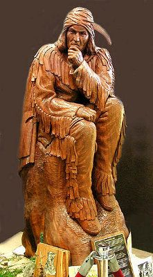 wood carving | Wood Carving of Tecumseh by Artist Neil Cox