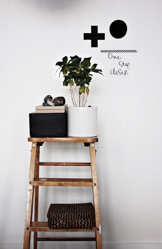 +: Bathroom Design, Dirty Parquet, Wooden Stools, Black And White, Black Decor, Bathroom Interiors Design, Bathroom Decor, Decor With Old Ladder, Ladder Shelves