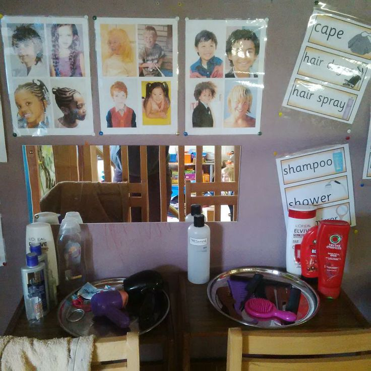 Save and wash old shampoo bottles for a role play hairdressers! We added combs, brushes, clips, old hairdryer (with plug and wire cut off) and towels. Encourages self care and for the children to engage in a gentle and thoughtful way :) We also added pictures of different hair types, styles and colours celebrating diversity :)