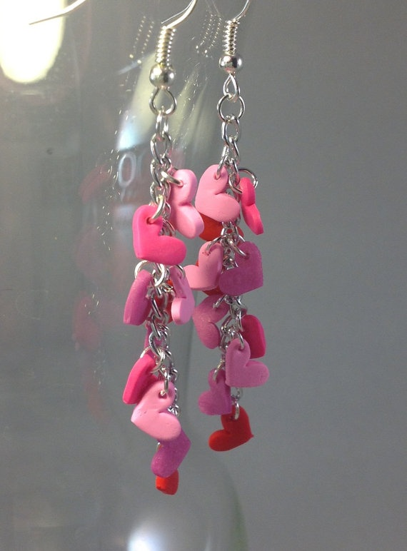 Dangly Red and Pink Hearts Cascade Polymer by TheDoctorsOrders, $13.00