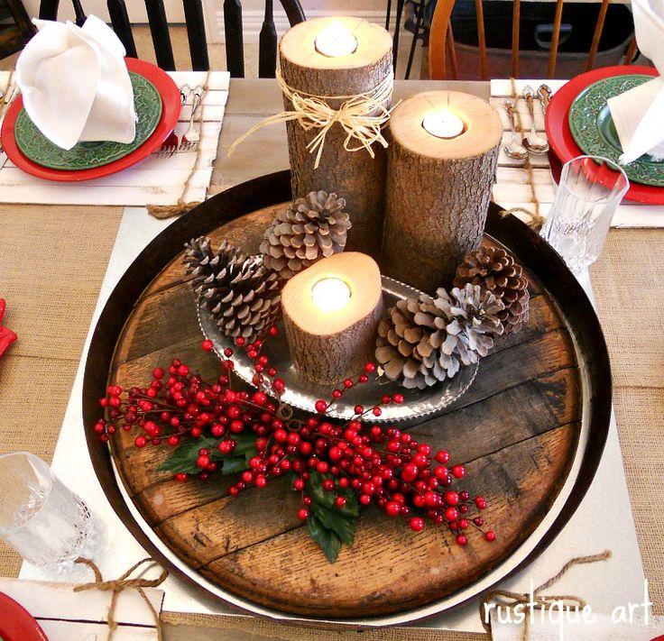 Christmas Table Centerpieces, Christmas Tables, Rustic Christmas, Decorating  Ideas, Diy Part 39