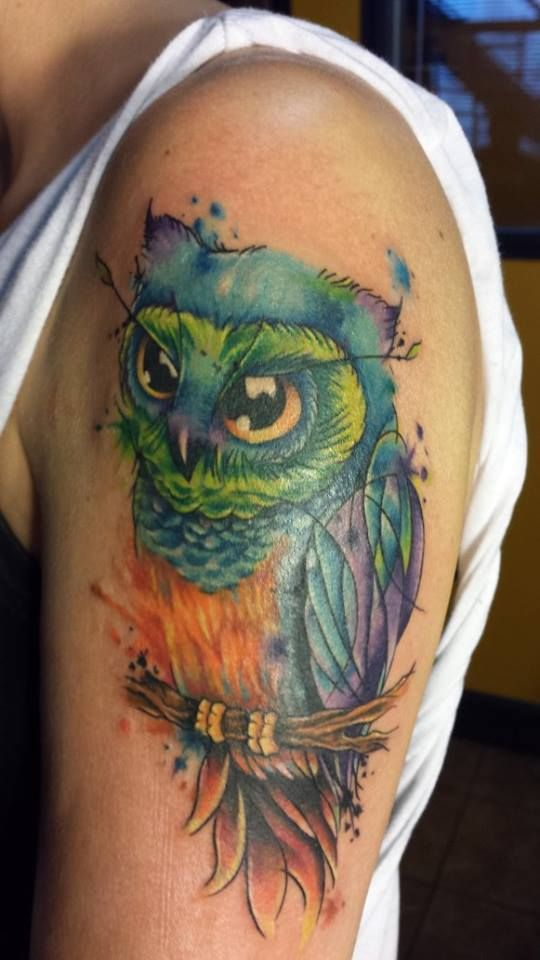 Watercolor owl tattoo done by Sean Kotnik in Cleveland OH