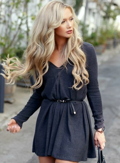 Women's Solid Color Deep V-neck Long Sleeves Dress