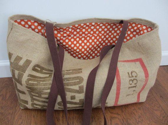 Large Burlap tote, Shoulder bag, Lined tote, Burlap coffee bag tote with graphics,repurposed coffe bean sack, shopping bag