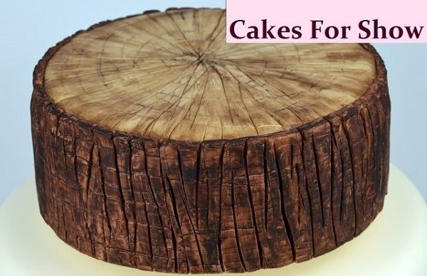 tree bark tree stump cake tutorial by Cakes for Show