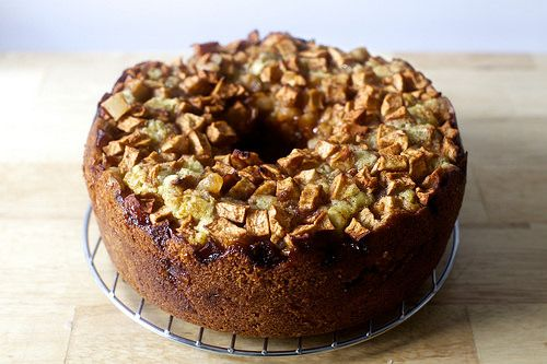 Apple cake. Used jonagold apples, baked half the recipe in a loaf pan for about an hour. Used milk instead of OJ