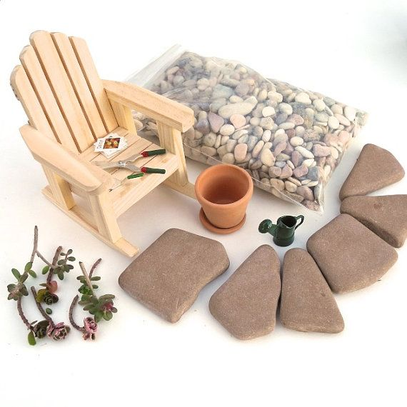 DESTASH Miniature Fairy Garden Set with Adirondack, Tools, Plants, Pavers, More, CUTE, Over 15pcs. OOAK