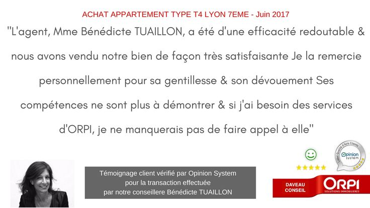 Nos avis clients - Agence ORPI Daveau Conseil - Immobilier