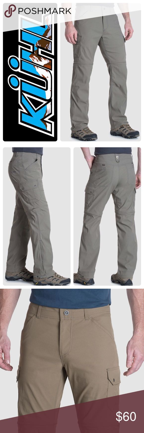 """New Küll Renegade™ Cargo Convertible  Pants Khaki The updated KÜHL RENEGADE™ CARGO CONVERTIBLE PANT opposes conventional thought to deliver superior performance, comfort and style. Cut from innovative DURALUX™, the durable softshell fabric feels like cotton to the touch. Stronger, more breathable, and boasting superior anti-abrasion and quick dry properties, DURALUX with DWR outperforms standard nylon and provides UPF 50 sun protection. Color - khaki. Size 40"""", inseam 30"""". Original price…"""