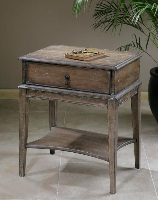 Weathered Pine Single Drawer Table Western Cocktail And End Tables   Sun  Washed, Weathered Pine