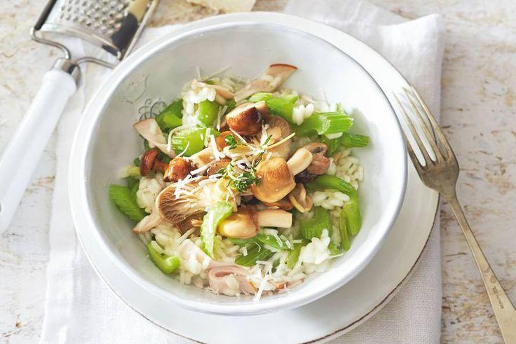 Risotto met kip, bleekselderij en paddenstoelen  - Recept - Allerhande