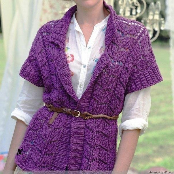Ажурный жакет с коротким рукавом (Вязание спицами) | Журнал Вдохновение Рукодельницы