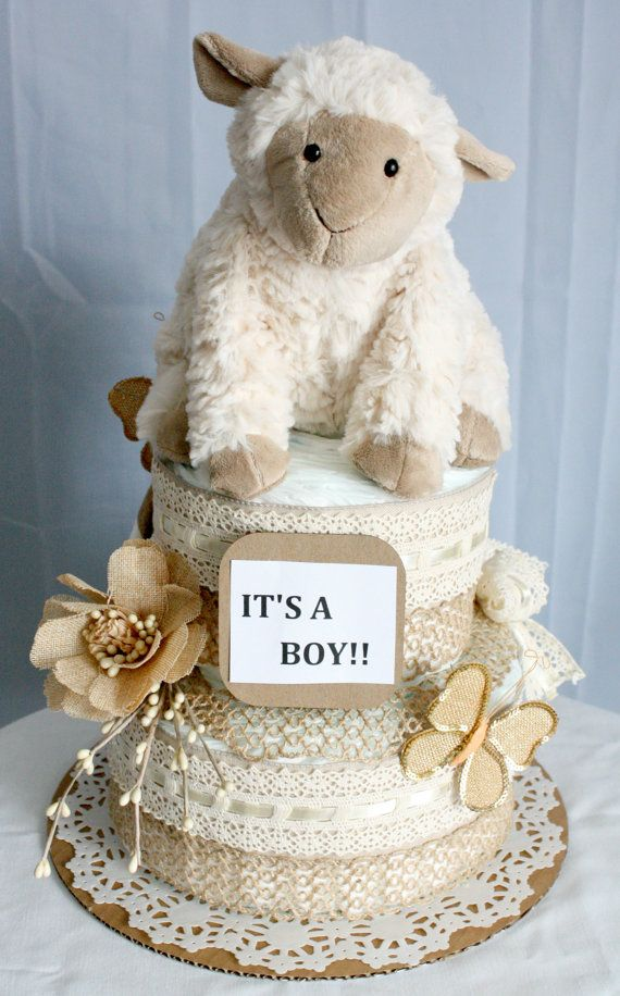 Vintage Lamb Diaper Cake by MckayCakesnCrafts on Etsy