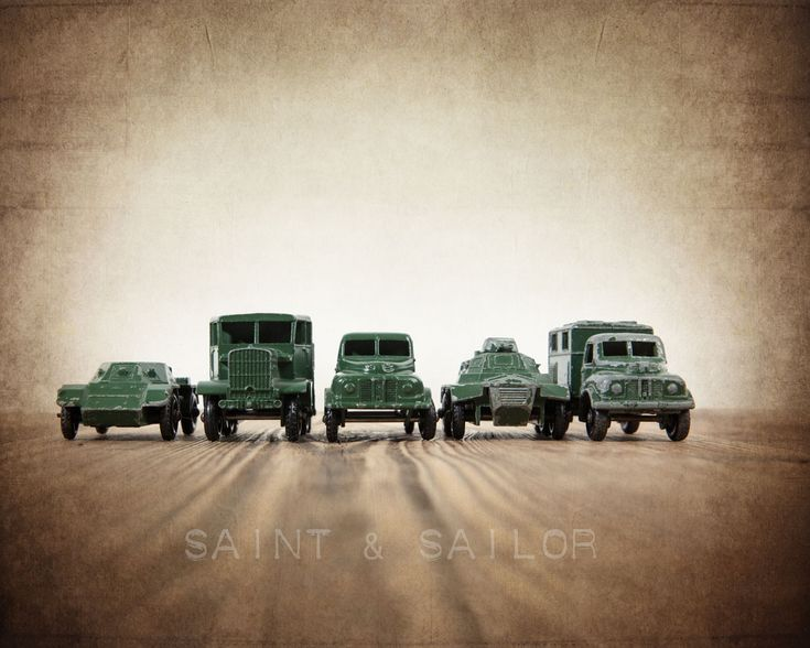 Vintage Army Trucks Lined up