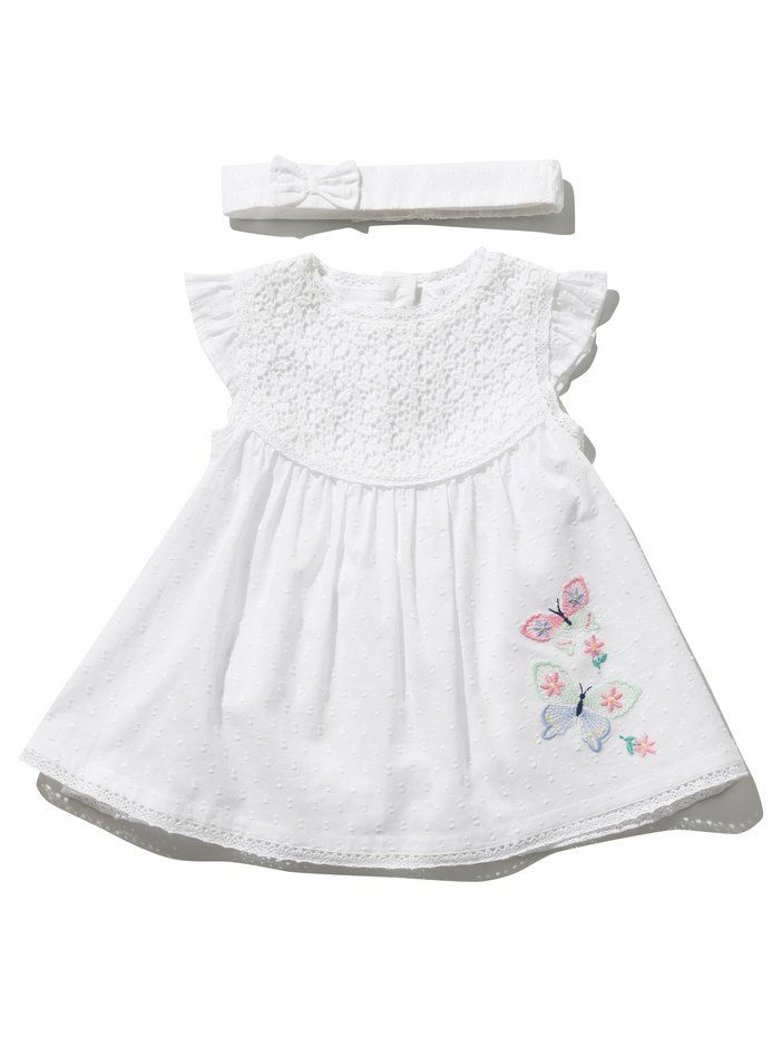 Baby Girls Dress /& Headband Set 12-18 Butterfly White