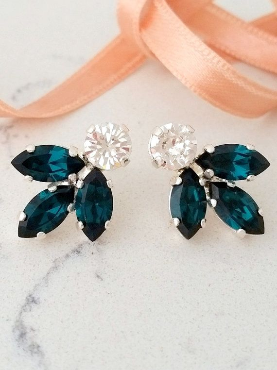 Emerald earrings,Bridal crystal earring,Emerald stud earring,Bridesmaid gift,Petite crystal earring,Emerald Cluster earring,Vintage earrings by EldorTinaJewelry  http://etsy.me/2cIG44G